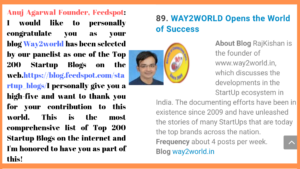 Way2World in Top 100 Blogs globally